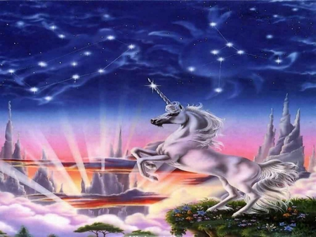 THE LEAP - unicorn, fantasy, other, astrology, abstract