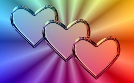 rainbow heart - rainbow, heart, love, triple