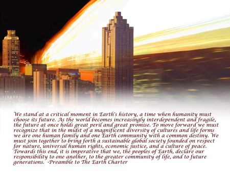 Excerpt from Earth Charter - preamble, peace, earth, charter