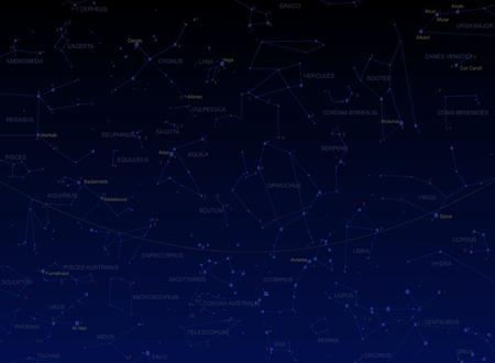 Star map - star map, ecliptic, stars, capricornus, constellations