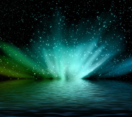 Romantic Starry sky - splash, water, green, romantic, colors, starry, sky, blue