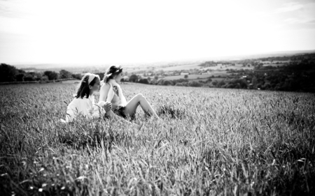 Friends - girls, grass, friendship, sky, friends, nature, beauty, field, forever friend, view, love