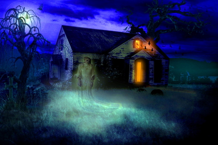TRICK or treat - spirit, blue, halloween, clouds, lights, moon, night