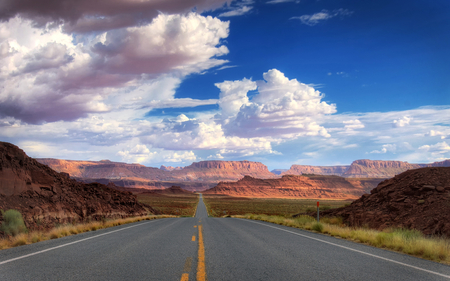 life is a highway - desert, sky, clouds, photography, mountains, beauty, nature, road, white, manmade, blue