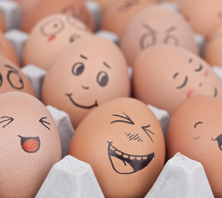 Funny Eggs - brown, eggs, smile, funny, expressions