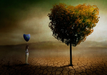 Love To Love - fantasy, child, tree, balloon, abstract, nature