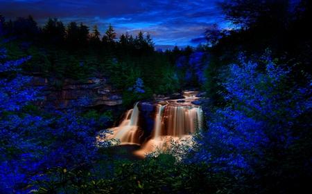 Dream forest falls waterfalls nature background - Waterfalls desktop wallpaper forest falls ...