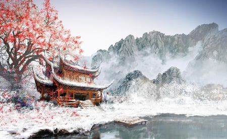 Japanese Temple - white, lake, building, tree, image, japanese, temple, color, digital, pic, colour, wall, mountains, nature, wallpaper, snow, drawing, art, picture