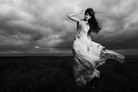 Feel The Breeze - wind, breeze, black and white, woman, clouds, storm, photography, girl, bw, nature