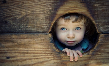 Peek-a-Boo - fence, photography, peek-a-boo, people, face, child, wood
