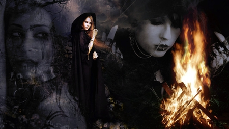 Δи∂ Ƨσσи тнɛ Ɖαяκиɛƨƨ - flames, halloween, witch, dark, goth, casting, gothic, angel, forest, spooky, good, spells, fire, soon, scary, sadness, dark angel, darkness, sad, evil, pain, sorry
