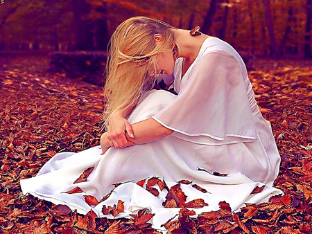 Solitary journey - fall, autumn, sadness, white dressed, journey, blonde, lonely, solitary, leaves, loneliness