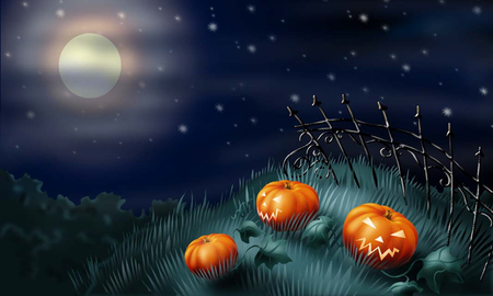 graveyard pumpkins - sky, scary, dark, gothic, holiday, creepy, spooky, clouds, moon, night, black