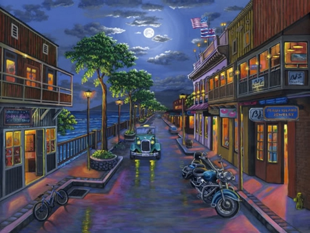 FRONT STREET MOON - buildings, ocean, town, bikes, sky, clouds, cars, moon, street