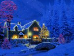 Christmas cottage on blue