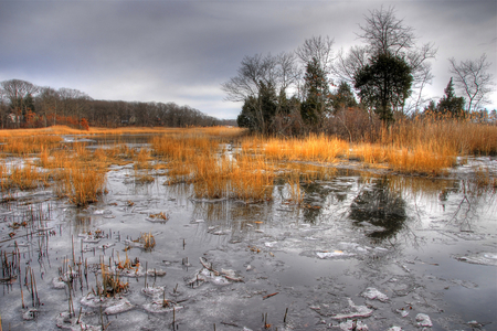 Frozen lake - image, autumn, orange, background, seson, lake, icy, grey, beauty, nature, hdr, popular