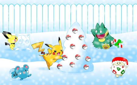 Pokemon Playing In The Snow - fence, christmas, munchlax, pokemon, togepi, pichu, pikachu, pokeballs, snow, anime, white