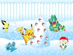 Pokemon Playing In The Snow