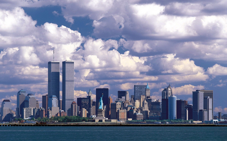 new york - architecture, buildings, sky, clouds, photography, structure, city, statue, towers, white, manmade, blue