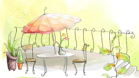 The Terrace - outside, table, cafe, vine, summer, flowers, umbrella, vase