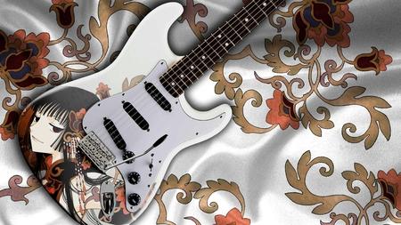 Beautiful Guitar - cloth, beautiful, pattern, guitar, floral, print, anime