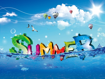 Summer Time!! - birds, fish, red, sun, orange, cloud, hot air balloons, blue, sky, seagulls, hot, water, summer, balloon, cool, clouds, aqua, air, green, season, very, enjoy
