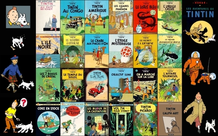 the adventures of Tintin and Snowy - colored, colorful, bd, entertainment, white, other, great, funny, collages, amazing, france, orange, shuttle, awesome, cartoons, rocket, stunning, comics, cool, drawing, snowy, black, space, tintin, famous, collage, red, dog, milou, comic, moon, herge, blue, colors, fun, cartoon, nice, yellow, beautiful, animal, adventure, adventures, green, picture