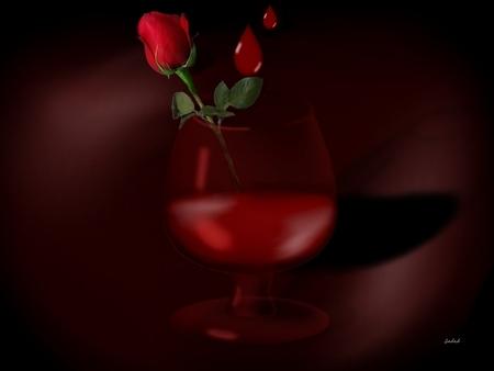 Love Hurts - glass, blood drops, hurts, rose, love, blood