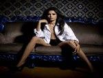 Freida Pinto in White Shirt Black undies