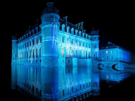 Beloeil At Night - hainaut, chateau, mote, moat, lake, beloeil, belgium, province, de, reflection, castle, blue, night
