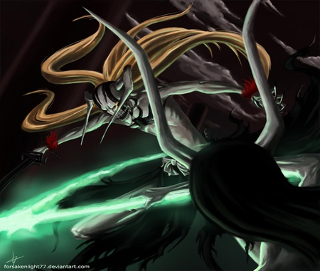 Battle above Las Noches - vasto lorde ichigo, vasto lorde, horns, ichigo kurosaki, anime, full hollow ichigo, zanpakutou, long hair, sword, bleach, ulquiorra, weapons, kurosaki ichigo, schiffer, hollow ichigo, mask, ulquiorra schiffer