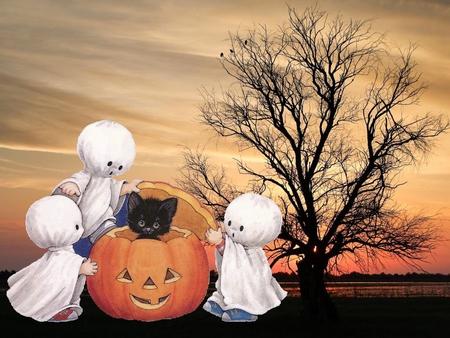 Halloween Children Pumpkin And Black Cat