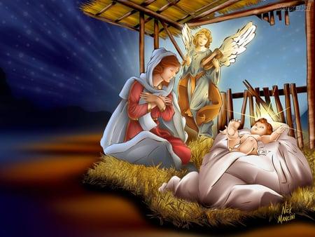 Jesus's birth - nativity, christ, jesus, christianity, christmas, religion, god