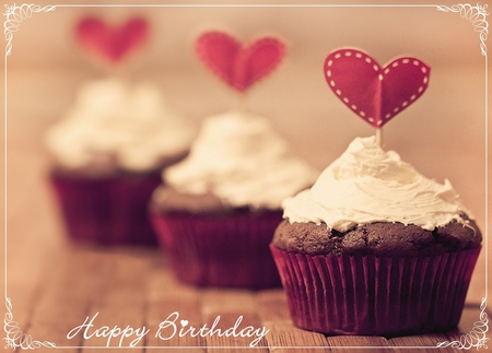 Happy Birthday - heart, sweet, love, happy birthday, hearts, cupcake, cake, gift