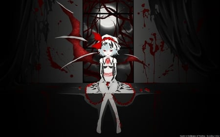 Bloody Strawberries - bloody, female, wings, vectors, fladre scarlet, moon, girl, anime, strawberries