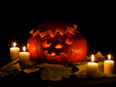 Dreamy pumpkin - candles, pumpkin, dream, halloween, funny, red