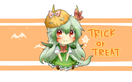 Happy Halloween Desktop Nexus! - dress, halloween, pumpkin mask, bows, horns, cute, green, touhou, keine kamishirasawa, green hair, red eyes