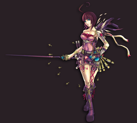 Sexy Warrior - armband, brown, the jesdset mangaka, dagger feather female fingerless gloves gloves looking at camera, boots, bottle, background, shoulders, character, pixiv fantasia  wizard an, blue eyes, bare, artbook kiki pfw andk, armor, pixiv fantasia artbook, bracers, ahoge