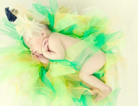 Sleeping angel - cloths, sleeping angel, adorable, rainbow, sweet, green, tenderness, love, child, little baby, colors, good night, baby, cute, sweetie, sweet dreams, sweetness
