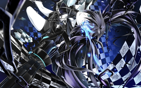 Black Rock Shooter - pretty, glow, movie, gray, beautiful, nice, gun, anime, black rock shooter, beauty, checkered, weapon, brs, blue eyes, star, light, ova, black hair, blue, fighting, music, black, chains, cannon, aqua eyes, cute, cool, song, jacket, awesome, aqua hair, white