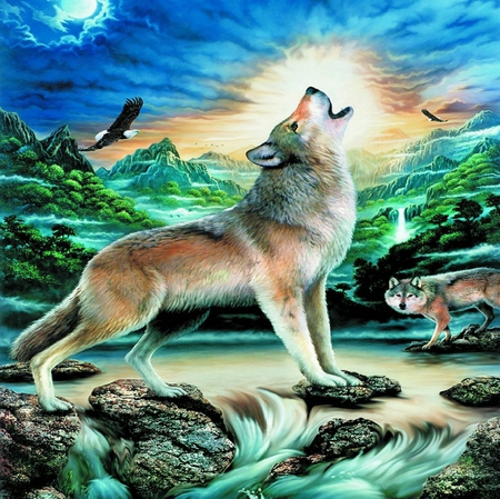 HOWLING AT THE MOON - moon, wolves, eagle, howling