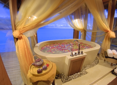 Romance In Maldives - resort, romance, ocean, curtains, towels, hot tub, teapot, maldives, flowers, cups, luxury