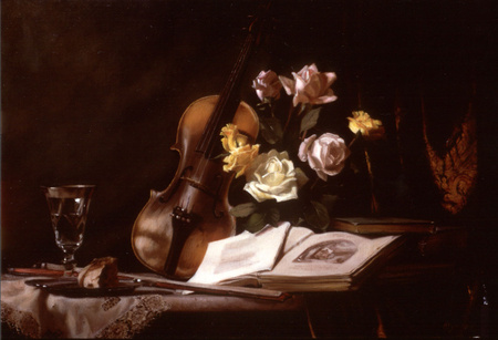 Wine, Roses & Music - cake, table, violin, wine, book, roses