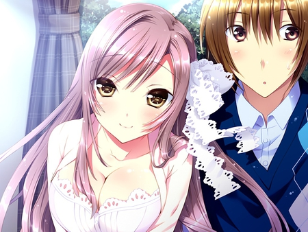 Will you marry us? - guy, cg, confused, blush, game, couple, sweet