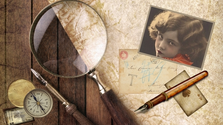Try to Forget - firefox persona, ace of spades, old, playing card, pen, paper, magnifying glass, compass, woman, parchment, vintage, antique, photo