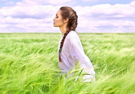 imagine - lovely, model, grass, white, field, female, green