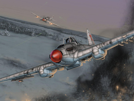 Russian Sturmovik - il-2, sturmovik, painting, ww2, il2, wwii, plane, airplane, ilyushin, drawing, art, russian