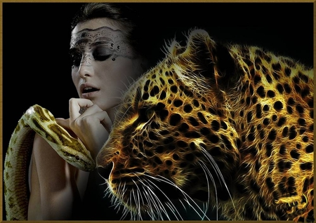 Friends ? - leopard, 3d, manipulation, abstract, woman, snake