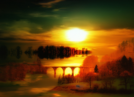 Glow view - glow, sun, view, yellow, abstract, sky, clouds, fantasy, gold, water, bridge