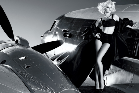 Guess by Marciano - black, blonde, beautiful, sexy, guess, top model, photography, fashion, air plane